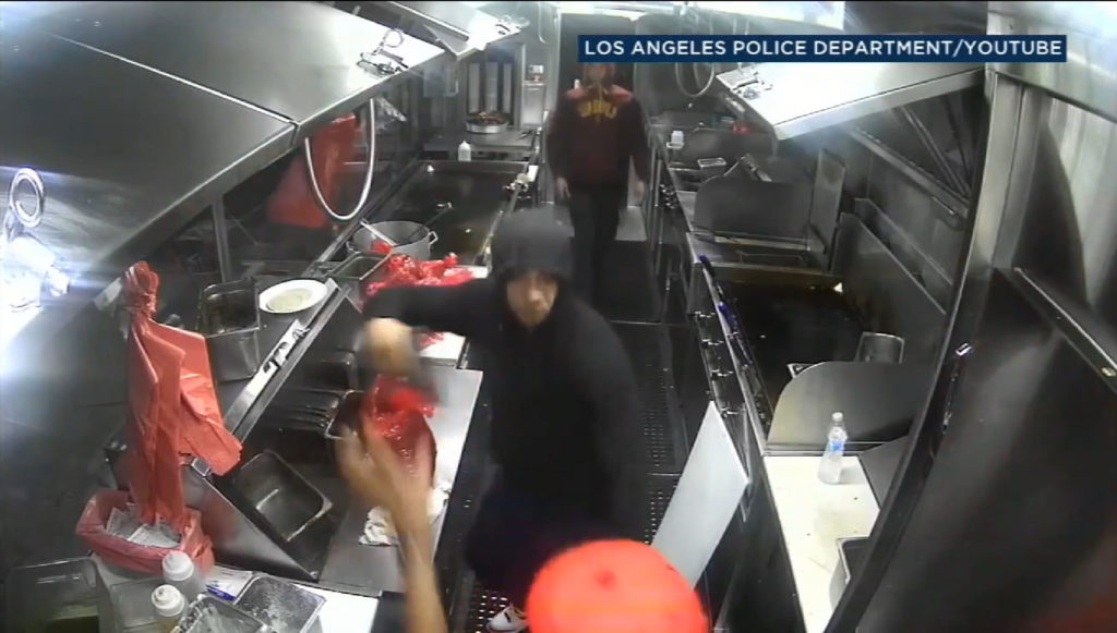 Gunmen caught on video robbing South LA taco truck